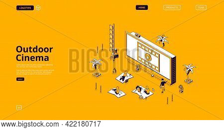 Outdoor Cinema Banner. Open Air Movie Theater In Public Park Or Backyard. Vector Landing Page With I