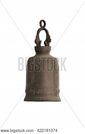 Buddhism Religious Iron Bell Isolated On White Background Work With Clipping Path.