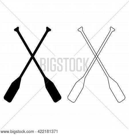 Paddle Icon On White Background. Canoe Paddle Sign. Black Thin Line Crossed Canoe Paddles. Flat Styl