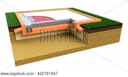 Insulated Reinforced Cement Slab Base - Isolated Cgi Industrial 3d Illustration