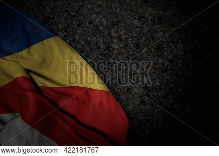 Wonderful Dark Illustration Of Seychelles Flag With Big Folds On Dark Asphalt With Free Place For Co