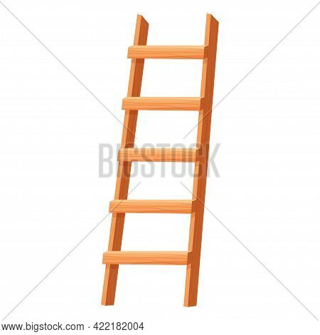 Wooden Ladder In Cartoon Style Isolated On White Background. Portable Stairs Concept, Household Elem