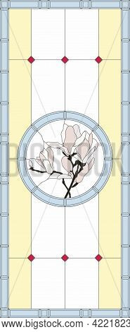 Stained-glass Panel In A Rectangular Frame. Classic Window, With Orchid, Abstract Floral Arrangement