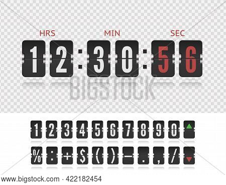 Scoreboard Symbol Number Font. Coming Soon Web Page With Flip Time Counter. Vector Modern Ui Design