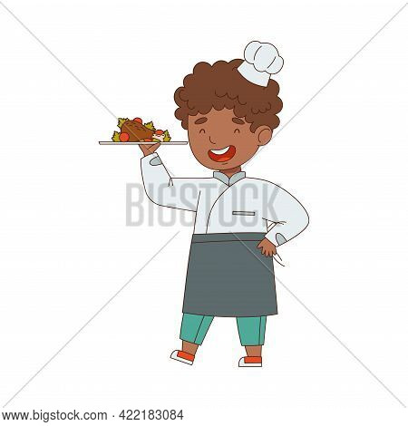 Little Boy Chef In White Toque And Jacket Holding Served On Plate Meal Vector Illustration