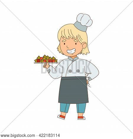 Little Girl Chef In White Toque And Jacket Holding Plate With Served Appetizing Meal Vector Illustra