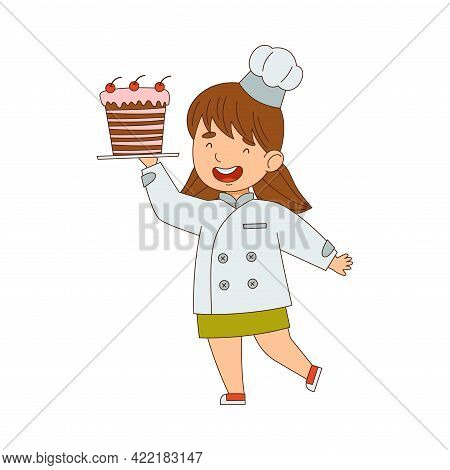 Little Girl Chef In White Toque And Jacket Holding Plate With Appetizing Cake Vector Illustration
