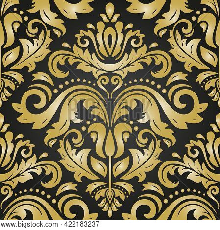 Classic Seamless Pattern. Damask Orient Ornament. Classic Vintage Black And Golden Background. Orien