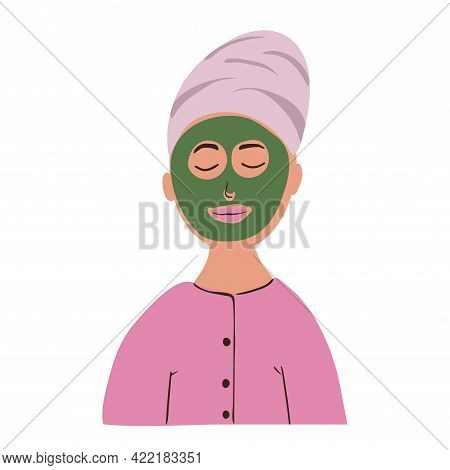 Young Calm Woman In Beauty Mask And Towel On Her Head. Cartoon Hand Drawn Vector Illustration Isolat