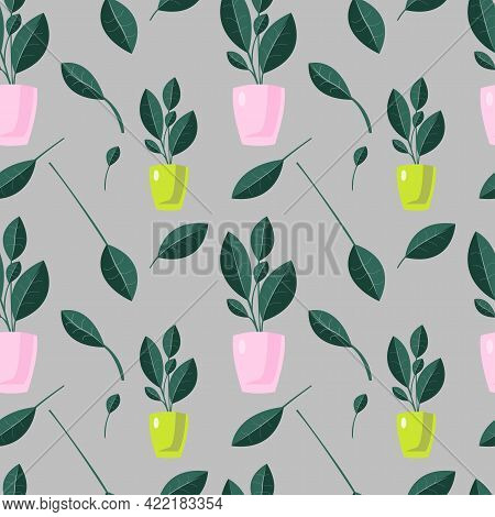 Abstract Houseplants Seamless Pattern. Vector Endless Texture On Grey Background. Colorful Pattern F