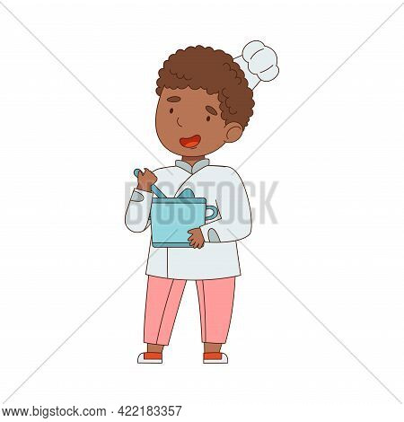 Little African American Boy Chef In White Toque And Jacket Holding Pot Mixing Something Vector Illus