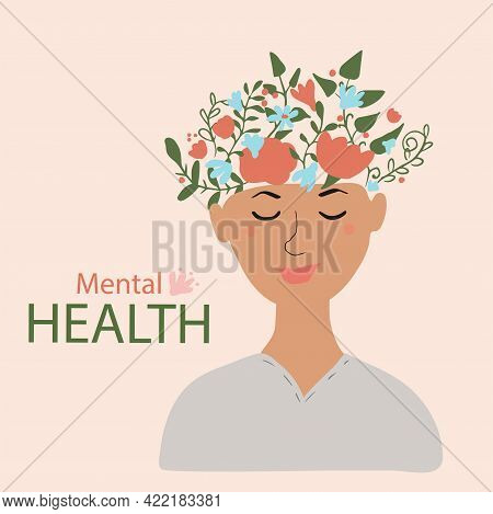 Smiling Happy Woman. Mental Health Concept. Hand Drawn Vector Illustration On Beige Background