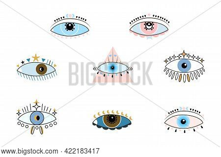 Set Of Different Boho Eyes To Protect Against Negative Effects. Colorful Evil Eye Symbol. Vector Car