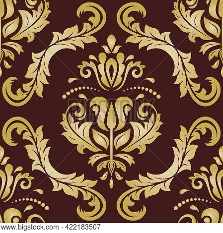 Classic Seamless Pattern. Damask Orient Brown And Golden Ornament. Classic Vintage Background. Orien