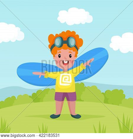 Playful Boy In Goggles With Improvised Fake Wings Flying And Playing Outdoor Vector Illustration