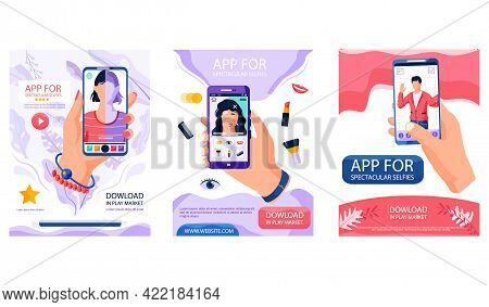 Set Of Illustrations About People Making And Editing Selfie. Characters Posing For Photo On Smartpho
