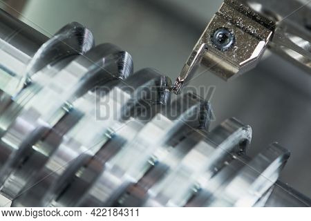 turning grooving operation on cnc machine. metal cut industry. Precision machining process