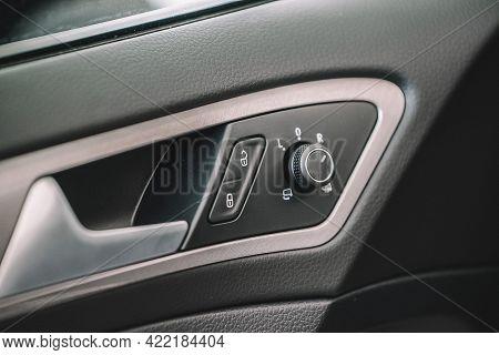 Wolfsburg, Germany - June 19, 2016: Volkswagen Vw E-golf Electric Car, Electric Car Interior Details