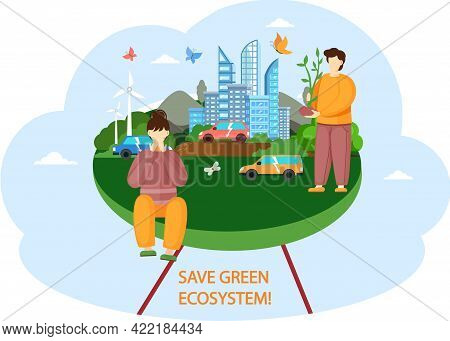 Nature And Ecology Design Poster. Save Green Ecosystem Concept. Environmental Protection Of Earth. P