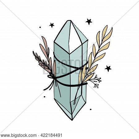 Crystal With Branches And Leaves, Bohemian Tattoo For Witch, Witchcraft Concept, Color Boho Illustra