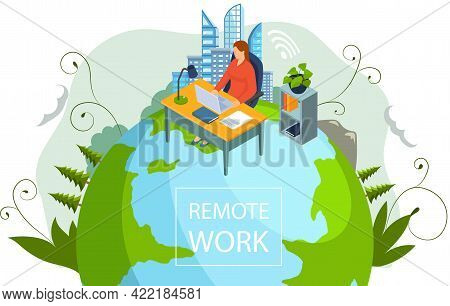 Freelancer Woman With Notebook At Table At Home Or Office Does Work, Educated Remotely Use Modern Te