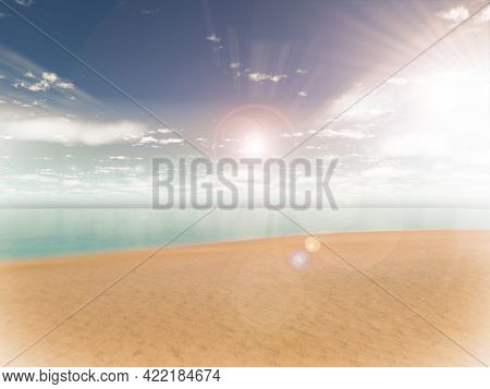 3D render of a tropical beach scene with bright sunshine