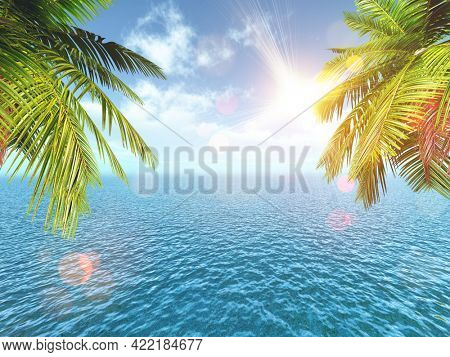 3D render of a tropical landscape with palm trees against the blue ocean