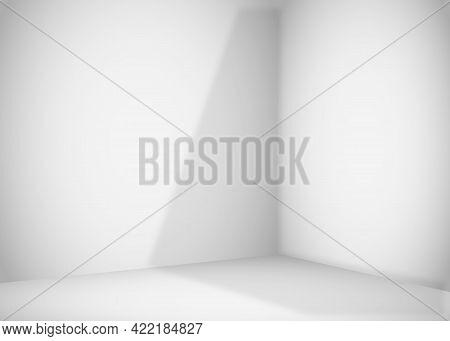 Empty White Room. The Inner Space Of The Box. Vector Design Illustration.