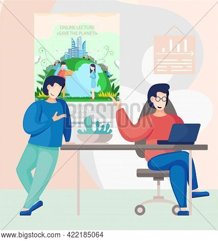People Work With Conceptual Banner On Environmental Theme. Online Lecture About Saving Planet Concep