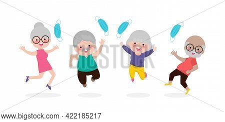 Happy Old People Jumping Remove Medical Mask With Vaccine Against Covid-19 Or Coronavirus, Senior Pe