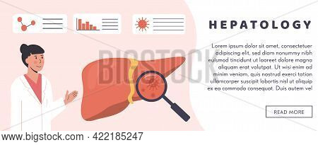 Web Banner Template. Gastroenterology Or Hepatology Hospital. Liver Organ With Magnifying Glass Hepa
