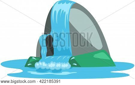 Falling Water. River Waterfall Falls From Cliff White Background. Water Fall Streams. Tourist Attrac