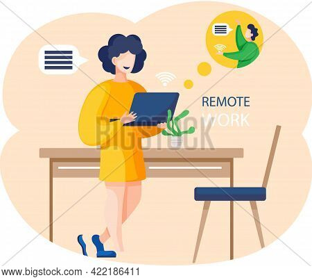 Remote Work, Video Conferencing Application. Woman With Laptop In Office Communicates Via Video Conn