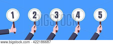 Hand Hold Round Score Card Banner Plate With Numbers 1, 2, 3, 4, 5 Business Concept Flat Style Desig