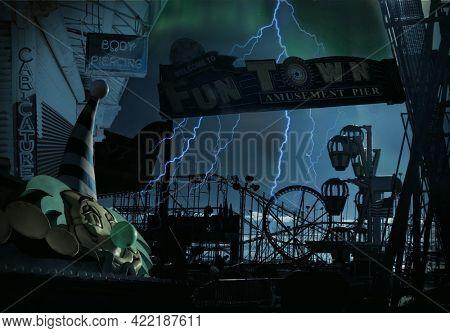 Spooky amusement park. 3D rendering.