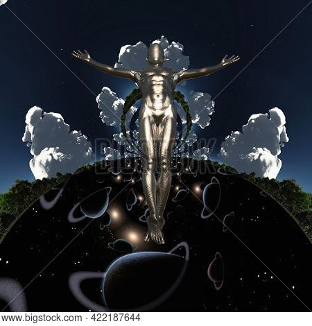Droid ascension. Sci-fi and spiritual composition. 3D rendering.