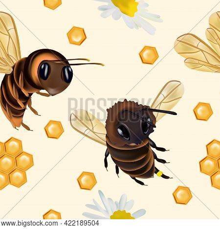 Seamless Pattern With Insect, Wasp, Beeswax, Honey Bee, Chamomile Flower. Pattern With Insect For Yo