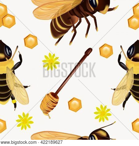 Seamless Pattern With Insect, Wasp, Beeswax, Honey Bee, Honey Dipper, Flower. Pattern With Insect Fo