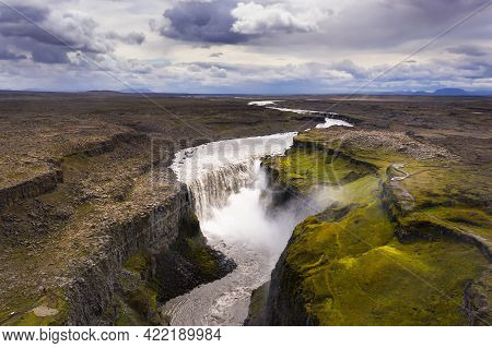Aerial View Of Dettifoss Waterfall In Iceland