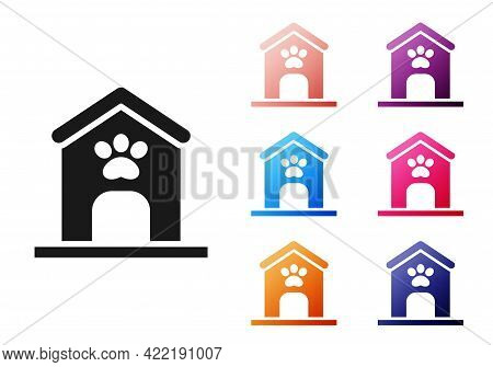 Black Dog House And Paw Print Pet Icon Isolated On White Background. Dog Kennel. Set Icons Colorful.