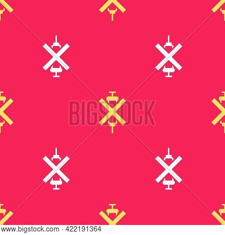 Yellow No Doping Syringe Icon Isolated Seamless Pattern On Red Background. Vector