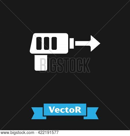 White Fishing Harpoon Icon Isolated On Black Background. Fishery Manufacturers For Catching Fish Und