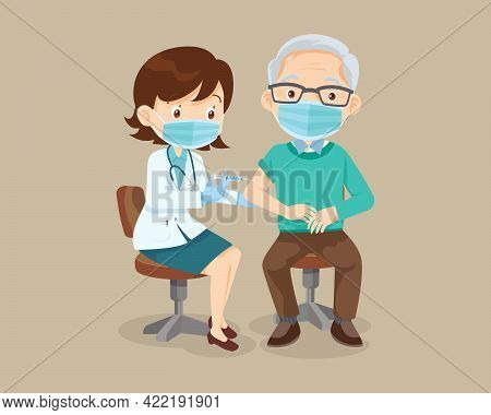 Doctor Injection Vaccine For Elderly Man Wearing Protective Medical Mask.vaccination Concept For Imm