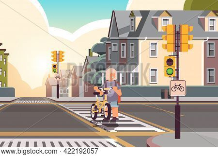 Schoolgirl With Bicycle Crossing Road On Crosswalk Road Safety Concept Horizontal Cityscape Backgrou