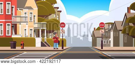 Schoolboy With Backpack Standing Near Red Stop Road Sign On City Street Road Safety Concept Full Len