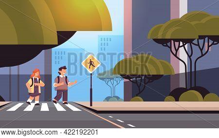 Schoolchildren Crossing Road On Crosswalk With Signboard Road Safety Concept Horizontal Cityscape Ba