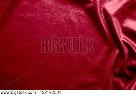 Dark Red Silk Texture Abstract Background. New Modern Design Luxurious Light And Soft Wave Smooth Sh
