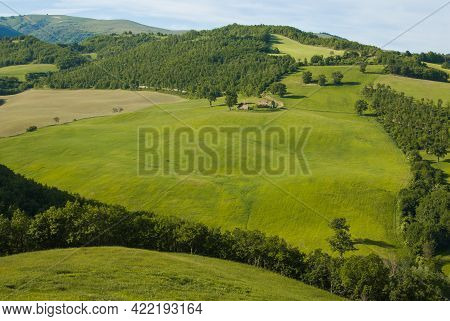 Beautiful And Panoramic View Of Green Hill In The Marche Region, National Park Of Monti Sibillini, I
