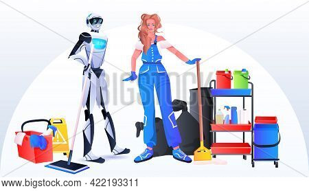 Robotic Janitor With Woman Cleaner Robot Vs Human Standing Together Cleaning Service Artificial Inte