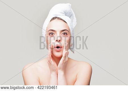 Amazed Woman Applying Eye Patches. Close Up Portrait Girl With Towel On Head. Portrait Of Beauty Wom